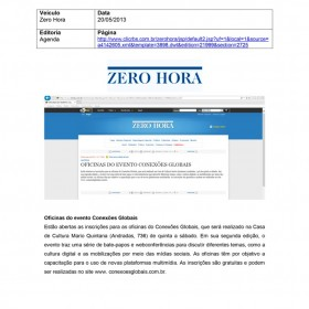 2013-05-20 - Conexões - Zero Hora (Edição Online - Agenda)