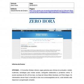2013-05-20 - Conexões - Zero Hora (Edição Online - Informe do Ensino)