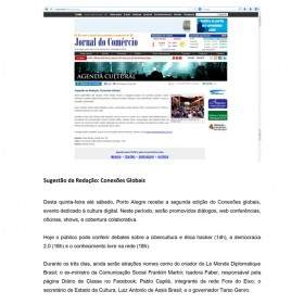 2013-05-23 - Conexões - Jornal do Comércio (Online - Agenda Cultural)