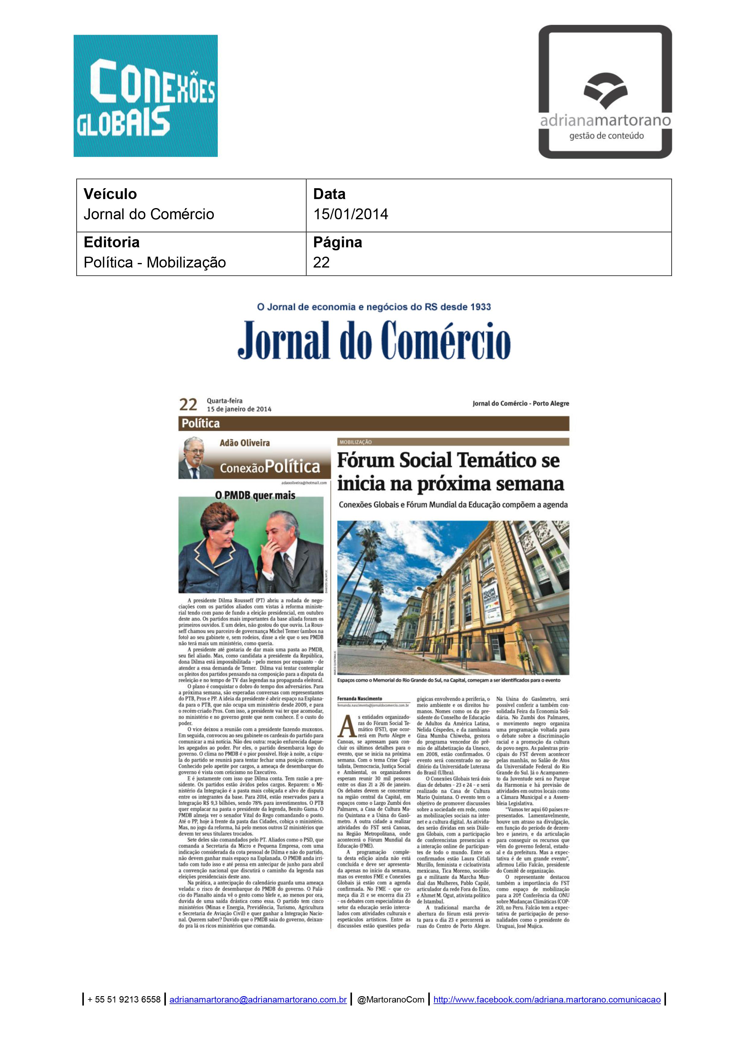 2014-01-15 - Jornal do Comércio (Ediçao Impressa)
